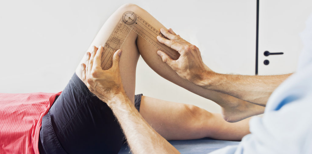 Doctor checking knee joint health and flexibility