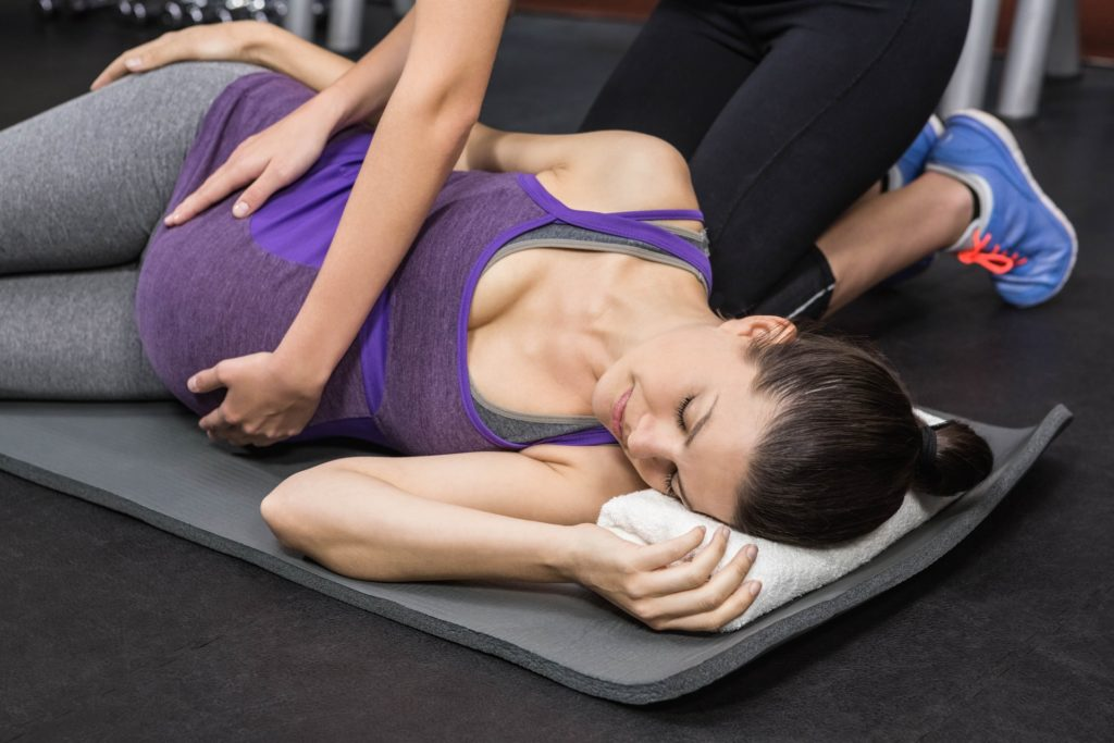Prenatal yoga and massage